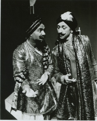 Leonard Jones and Andy Fraenkel as Sakuni and Duryodhan in their two actor performance of Mahabharata, NYC, American Theater of Actors, 1987